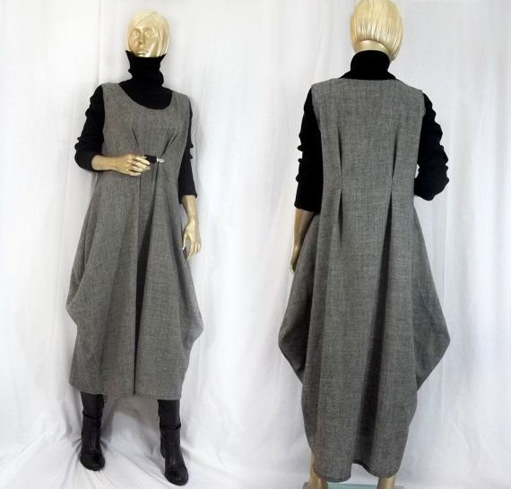 Lagenlook, long, wool, dress, jumper, balloon shape.  I made this very loose fitting, pull-on, maxi dress out of a 80%wool/20%poly blend fabric in a
