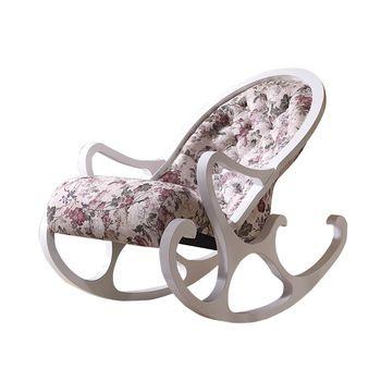 Tecido Cadeira De Balanço Almofadas Estofadas Acabamento Branco Sala de estar Mobiliário Moderno Relaxar Cadeira De Balanço Roqueiro Poltrona de Madeira