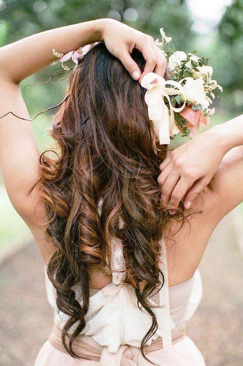 Bride's long down curls bridal hair Toni Kami Wedding Hairstyles ♥ ❷ Wedding hairstyle ideas flower crown corona halo