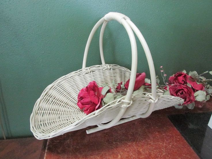 Flower Girl Basket Vintage Woven Gathering Basket by LuRuUniques on Etsy