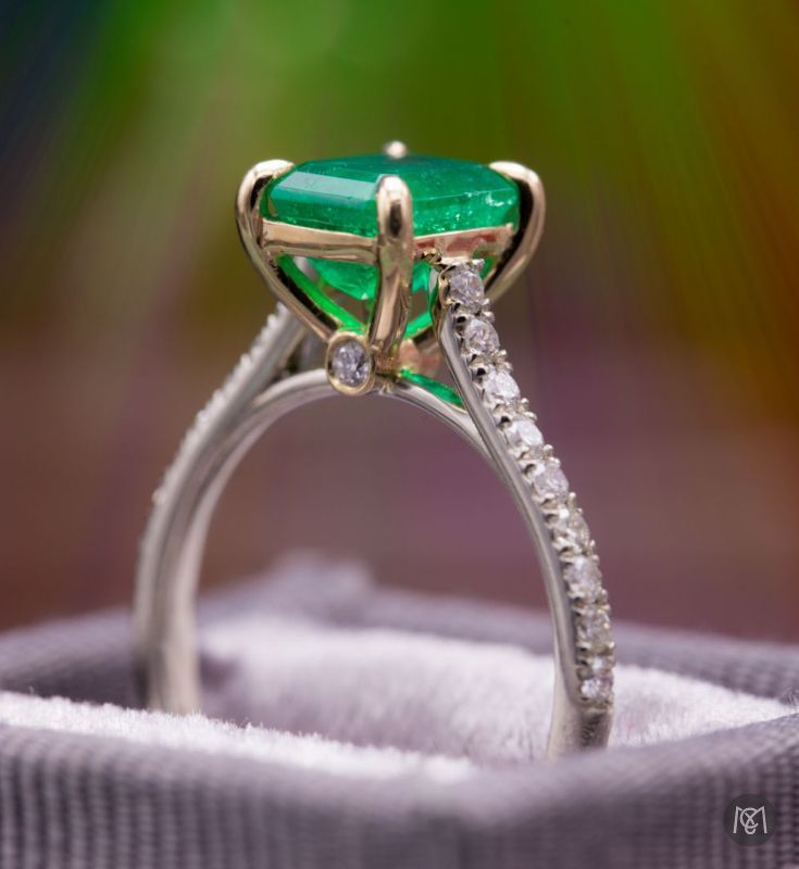 This gorgeous emerald engagement ring is another great example of finding the perfect gem that really speaks to you and your design. We looked at a handful of emeralds to find this beautiful 1.35ct emerald cut. There's so much personality to the patterns and textures that are trapped in the beryl during its formation! It's one of the things that makes Emerald so personal!