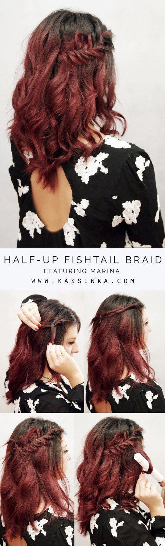 Half-up Fishtail Braid For Thick Short Hair Tutorial (Kassinka)  #Braid #Fishta