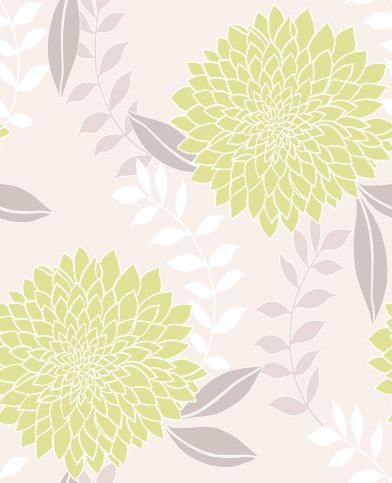 Clarissa Green (M0659) - Crown Wallpapers - A large chrysanthemum flower with a raised texture and pretty metallic glitter highlights. Showing in lime green and silver on a cream background