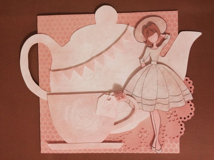 Pink vintage prima doll card with teapot and teacup , tea bag