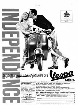 """""""The girl that gets ahead gets there on a Vespa!"""" Vintage Vespa 125cc ad from the swingin' 1960s. #Vespa"""