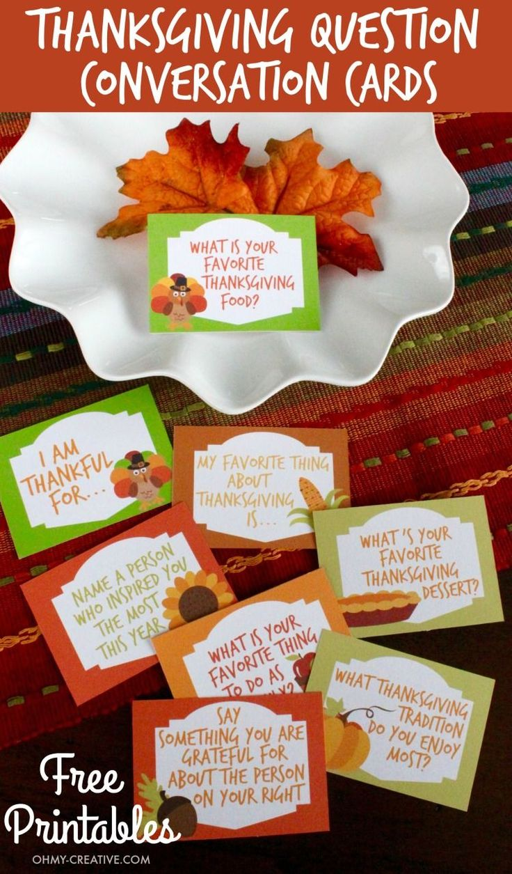 Dress up the ThanksgIving table with these Thanksgiving Conversation Starters! These Free Printable Thanksgiving Question Cards are a great way to share thankfulness and gratitude with each other around the thanksgiving table!   OHMY-CREATIVE.COM