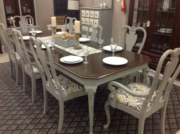 Stunning dinning room table in Grey Mist by Rethunk Junk by Laura furniture paint.
