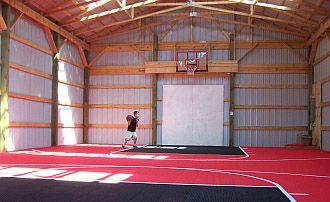 Basketball Court In A Barn Pole Barn Kits Pinterest