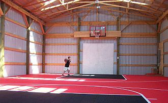 Basketball court in a barn dream home pinterest the for How much does a half court basketball court cost