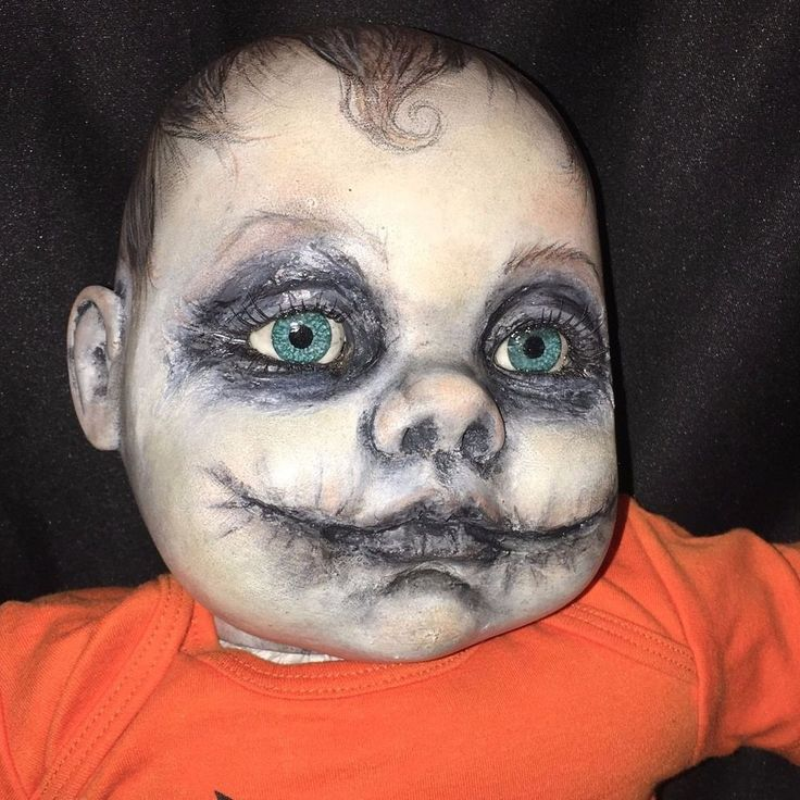 "GOTHIC BABY Haunted OOAK 22"" Cititoy VINYL CLOTH DOLL Zombie JOKER Glasgow SMILE  