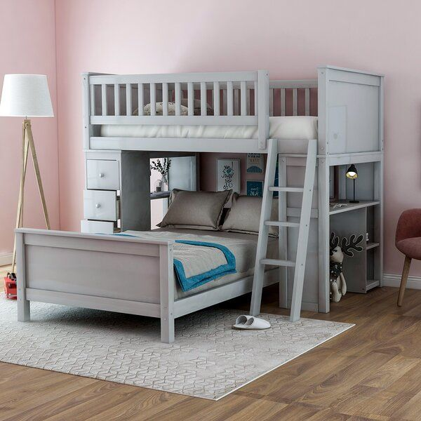 Henri Twin Over Twin 4 Drawer L Shaped Bunk Beds With Shelves By Harriet Bee In 2021 Bunk Beds With Storage Loft Bunk Beds Bunk Beds With Drawers Twin over twin bunk beds with storage