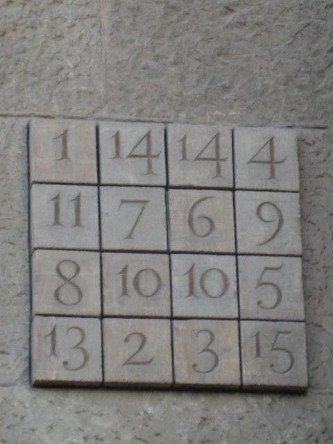 Op de Zuidwestelijke gevel van de Sacrada Familia is een Magisch vierkant te vinden waarvan de Magische constante 33 is, de leeftijd waarop Jezus Christus stierf.