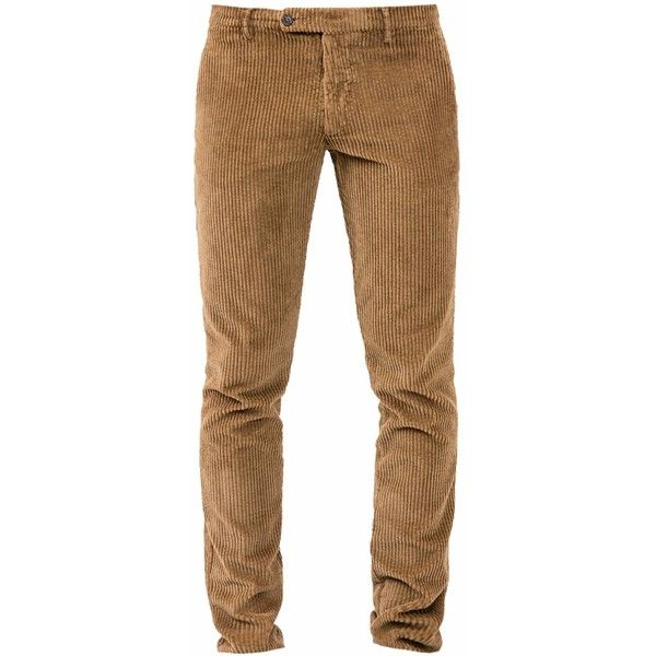 Berwich Walnut Corduroy Slim Trousers ($210) ❤ liked on Polyvore featuring men's fashion, men's clothing, men's pants, men's casual pants, mens slim fit pants, mens slim pants, mens zipper pants, mens corduroy pants and mens zip off pants