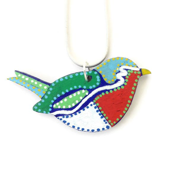 Bird Necklace Painted Jewelry Small Bird Necklace by Larryware