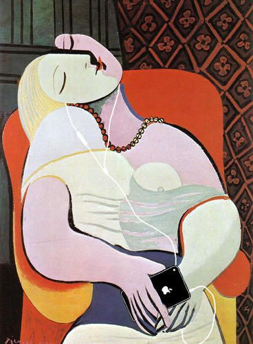 """How Historical Paintings Would Look If Their Subjects Had Mobile Devices   """"The Dream"""" by Pablo Picasso."""