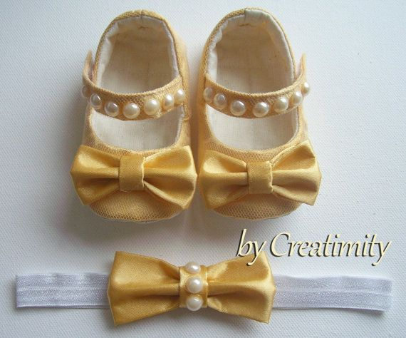 Gold baby girl shoeschristening baby by CreatimityElegance on Etsy