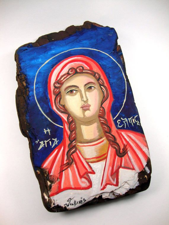 Saint Hope Elpis Elpida Handmade Greek Small Byzantine Orthodox Style Icon On Wood 10x17cm, Small Painted Icon, Christian Gift, Greek Icon on Etsy, 35,00 €