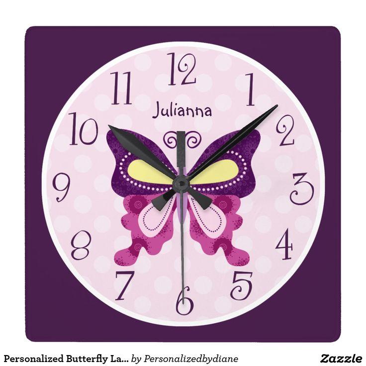 Personalised Butterfly Lane Nursery Clock