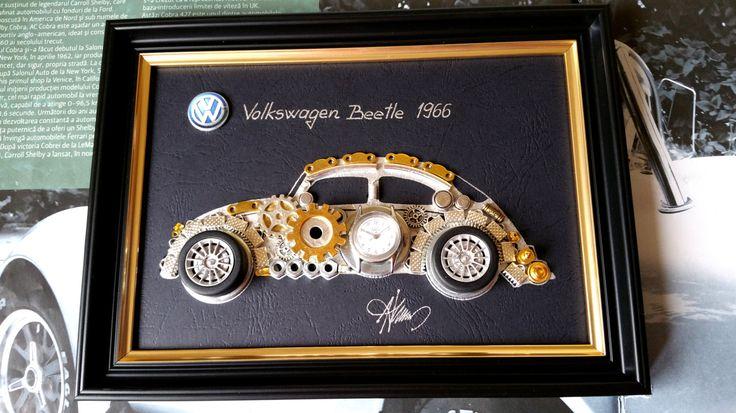 Volkswagen Beetle 1966 Code M 080, Car Collage decor, Steampunk Art, Unique Art by GoldGallery on Etsy