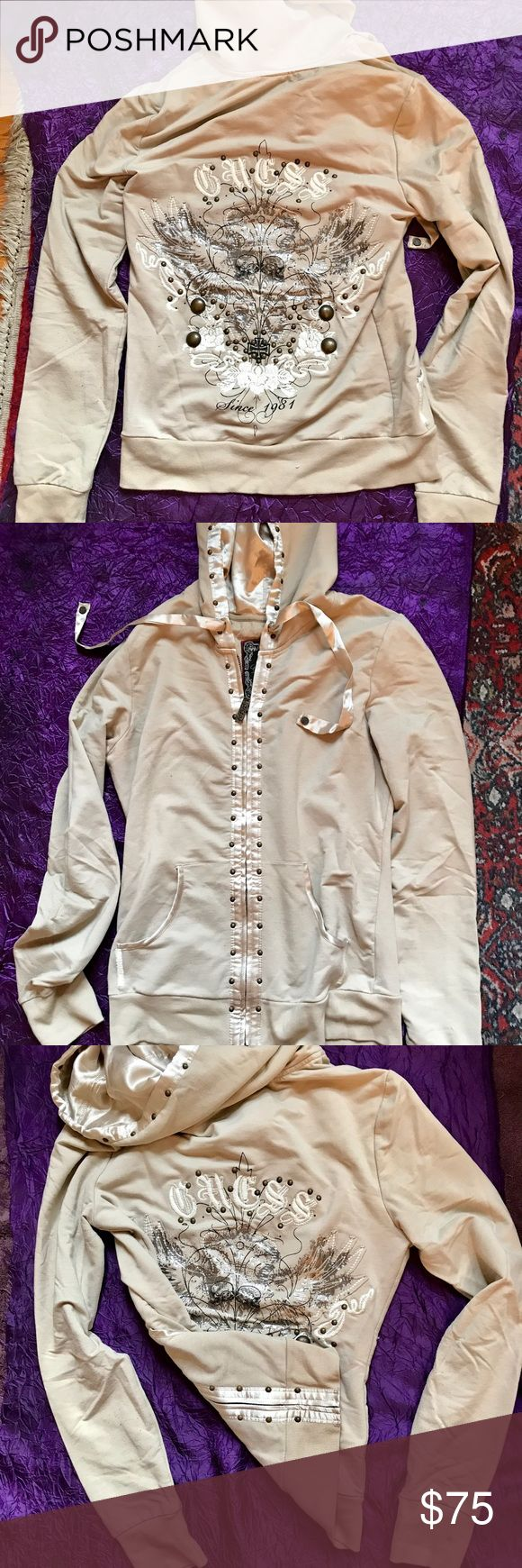 Beige zip up, worn once, in great condition. Beige Guess Jeans zip up sweatshirt. Worn once and it great condition. Guess Tops Sweatshirts & Hoodies