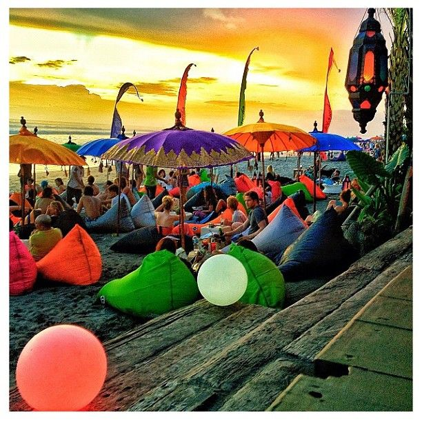 Seminyak is the best place to relax in big colorfull beanbags and watch the beautiful sunset!    http://travelling-bali.com