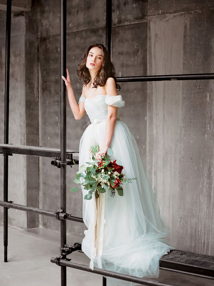 Arsenia // Off the shoulder wedding dress - wedding gown - bohemian wedding dress - romantic tulle lowback wedding dress - grey tulle dress by Milamirabridal on Etsy https://www.etsy.com/ie/listing/225204458/arsenia-off-the-shoulder-wedding-dress