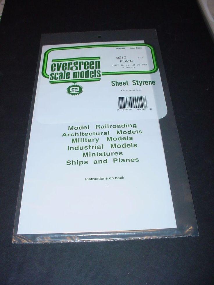 "Evergreen Styrene Sheet Plastic .010 White Scratch Building 4 pcs 12"" x 6""  #Evergreen"