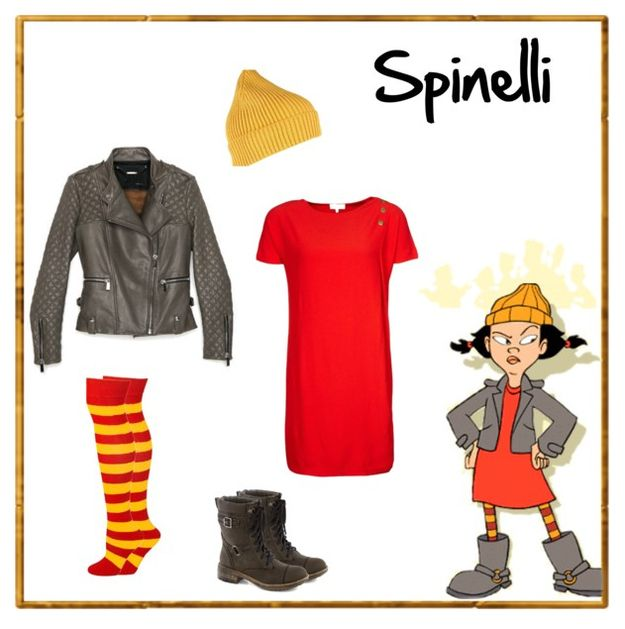 Spinelli of Recess. Dress by Zalando, $46.  Leather jacket by Barbara Bui at Intermix, $1,598. Boots by ModCloth. $85.  Beanie by River Island, $16.  Socks by AJs at Amazon, $10.