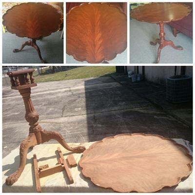 Refinished / Restored Antique Tilt Top Table Circa 1890 : Jacksonville  Florida THE FURNITURE DOCTOR