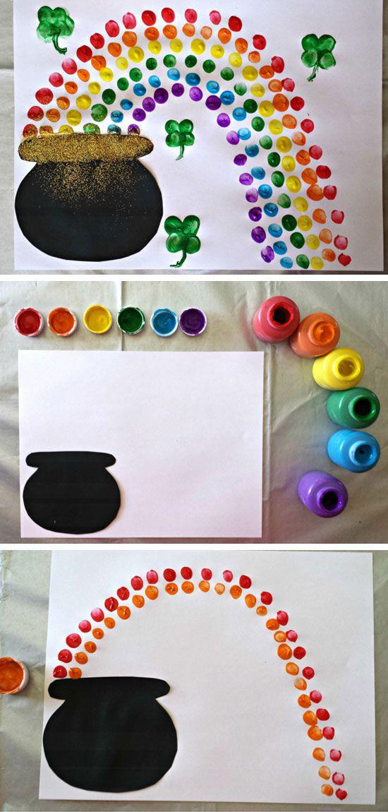 Fingerprint Rainbow Pot of Gold | DIY St Patricks Day Crafts for Kids to Make