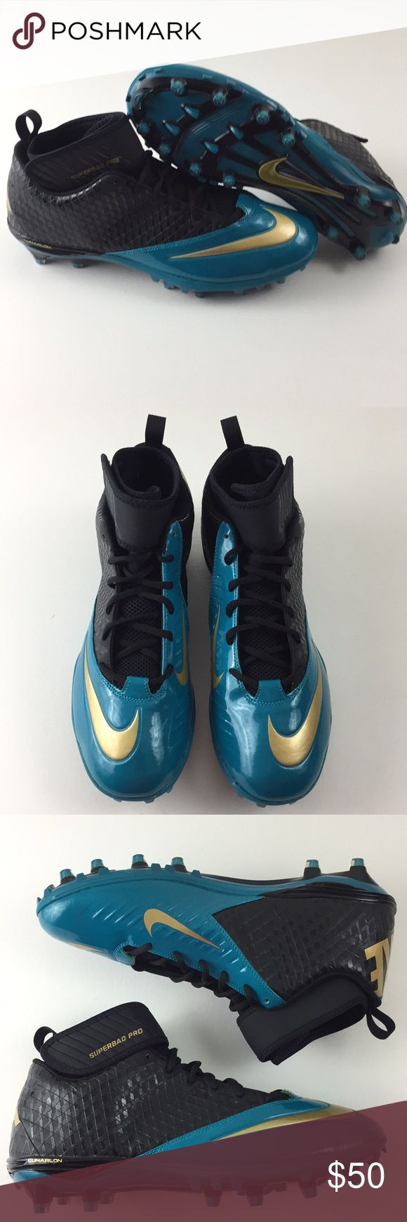 Nike Superbad Pro Cleats New! Nike Lunar Superbad Pro TD Football Cleats. Men's size 14. Jacksonville Jaguars colorway. Turquoise, gold and black. Nike 534994-015. Brand new, no box. Nike Shoes