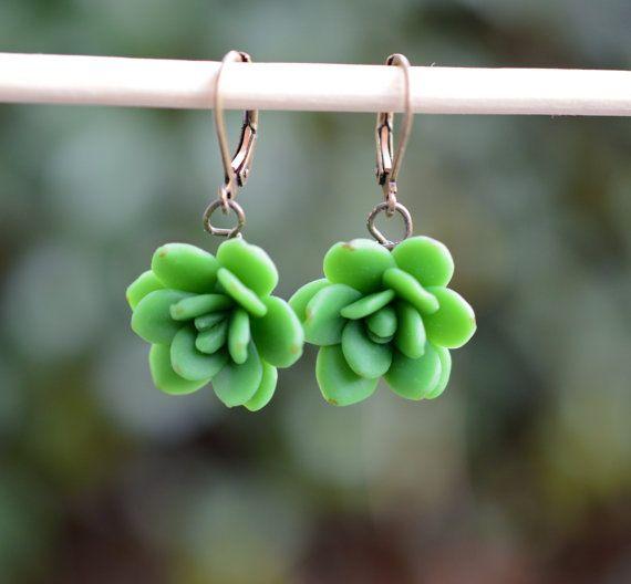 Green succulent Earrings Succulent Earrings Succulent by Diaszabo, $16.00