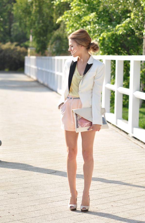 so pretty: Jacket, Pastel, Blazer, Light Tones, Elegant Hair, Outfit, Fashion Inspires, Cute Shorts