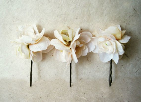 Ivory Silk Flower Hair Pin. Peach, Sage and Cream Floral Bouquet Hair Clip for Brides, Bridesmaids, Flower Girls. Fabric Flower Hair Pin. on Etsy, $12.00