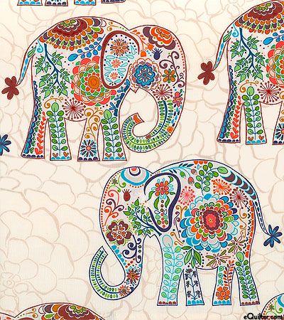 Karavan- Marrakech - elephants - eggshell