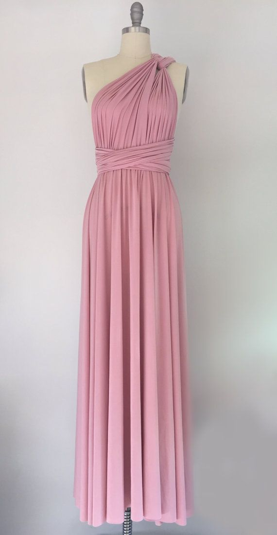 Rose Pink Floor Length Ball Gown Infinity Dress Convertible Formal Multiway Wrap Dress Bridesmaid Dress Party Evening Dress