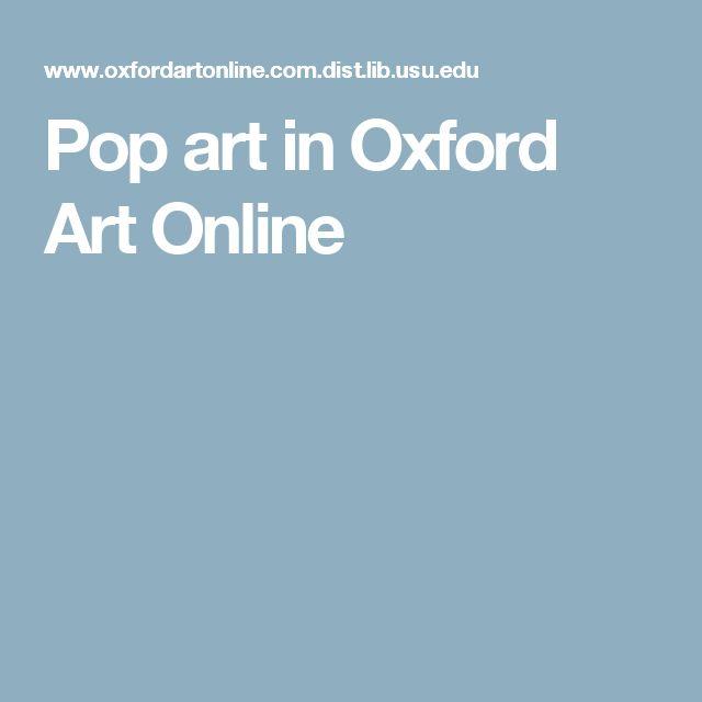 Pop art in Oxford Art Online