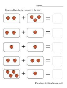 Preschool math worksheets related to addition