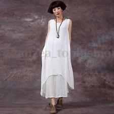 ZANZEA Women Sleeveless Kaftan Loose Casual Retro Linen Long Tops Maxi Dress