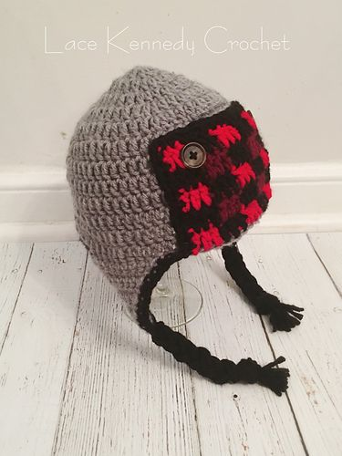 c47b90c552f2d Ravelry  Buffalo Plaid Trapper Hat pattern by Lace Kennedy Crochet