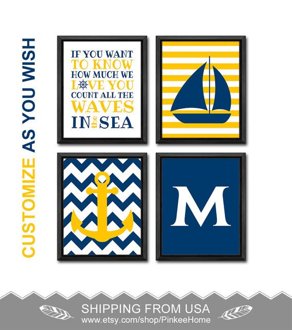 count the waves nautical quote initial nursery nautical baby nursery decor nautical baby room personalized boys room decor little sailor by PinkeeHome