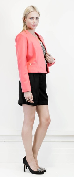 Bento's ladylike neon peach wool jacket #halcyonstate