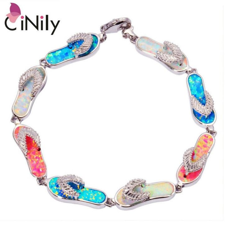 """CiNily Created White Blue Pink Fire OPal Wholesale Flip Flops for Women Jewelry Part Chain Bracelet 7 3/8"""" OS393"""