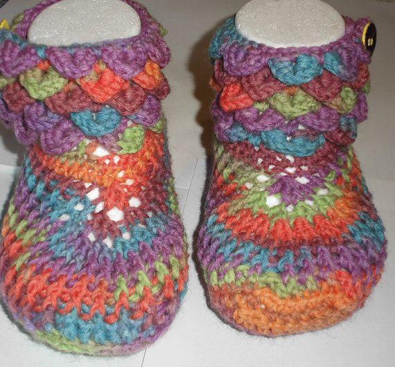 Crocodile Stitch Child Boots - Handmade Child Boots - Rainbow Colors - Turquoise Apple Green Purple Orange - Handmade Caramic Buttons