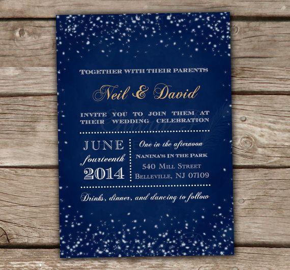 Starry Night Wedding Invitation - DIY Printable, Chalkboard, Starry lights, Engagement Party, Bridal Shower, Couples Shower, Royal Blue