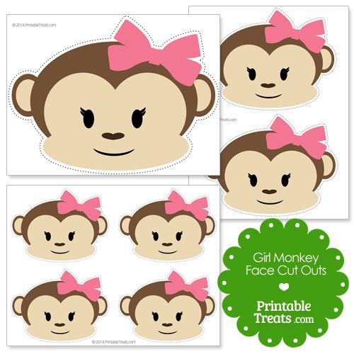 Printable girl monkey face cut outs party ideas for Monkey face template for cake