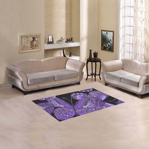"""Purple Butterfly Pattern Area Rug 2'7""""x 1'8''"""