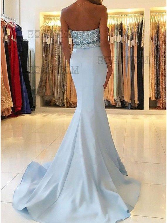Mermaid Sweetheart Sweep Train Backless Light Blue Prom Dress with Beading