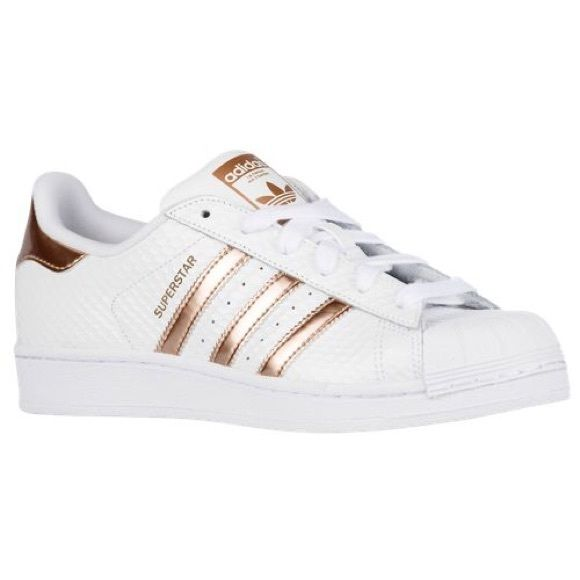 Adidas Originals Superstar white and rose gold Gorgeous brand new never been worn adidas superstars with white snakeskin and rose gold stripes! Adidas Shoes Sneakers