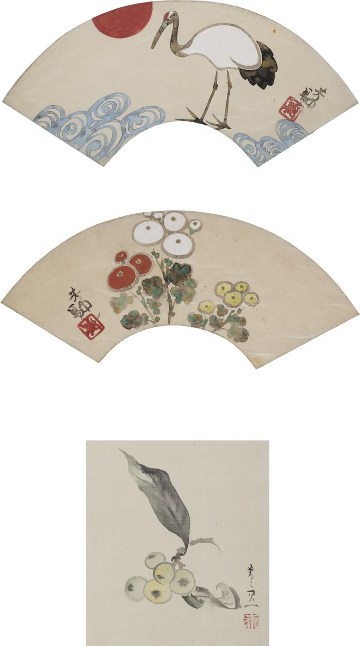 NAKAMURA HOCHU (D. 1819) AND SUZUKI KIITSU (1796-1858) THREE PAINTINGS including two fan paintings, ink and color on paper, one depicting a crane, the other chrysanthemums, both signed Hochu with one seal; and a painting of loquats, color on silk, signed Seisei Kiitsu, with one seal; all three mounted as hanging scrolls on brocade, each with storage box (9)